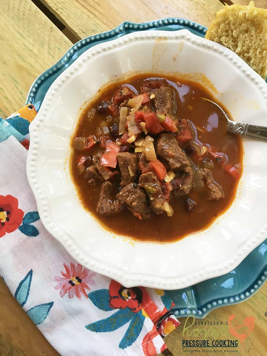 Beef Brisket chili in the pressure cooker