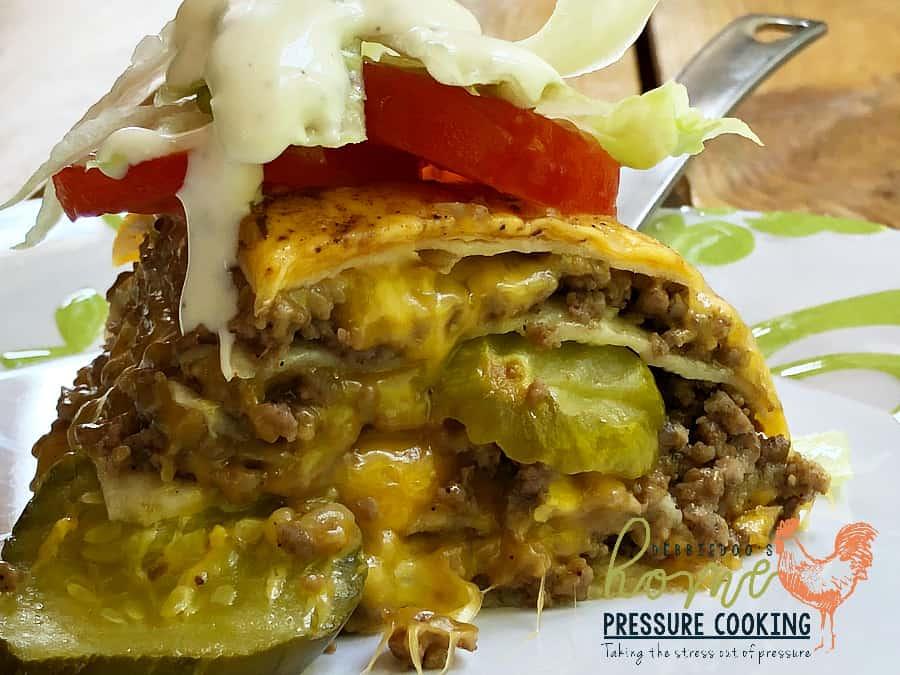 Cheeseburger tortilla pie in the Instant Pot