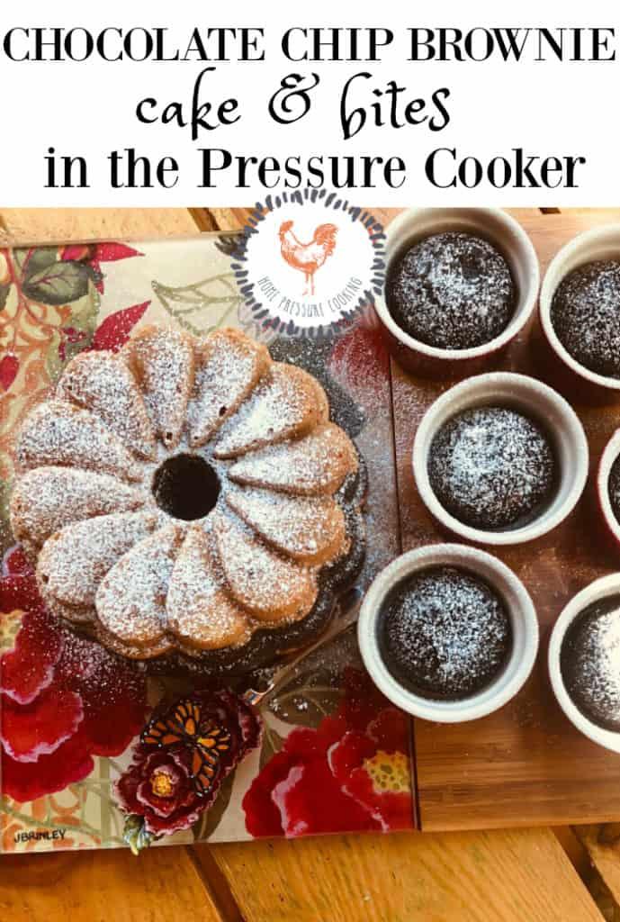 Chocolate Chip Brownie cake in the Ninja Foodi or Instant Pot pressure cooker.