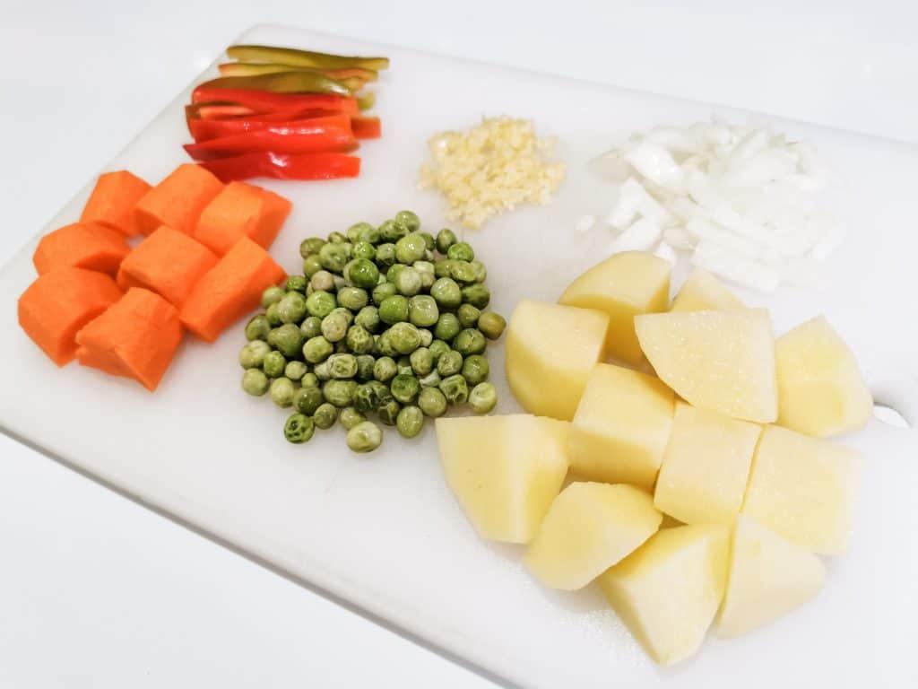 Ingredients for Instant Pot Afritada Filipino Chicken Stew in Tomato Sauce