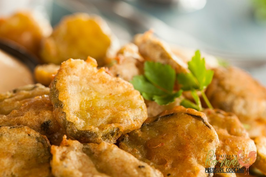 Delicious Battered Fried Ninja Foodi Pickles with Dipping Sauce