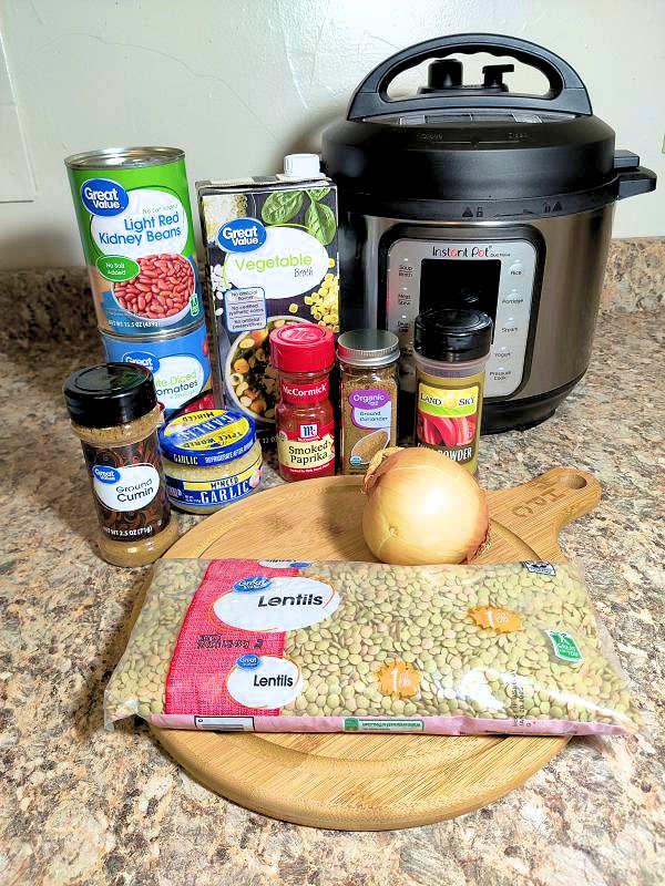 ingredients for Instant Pot Lentil Chili