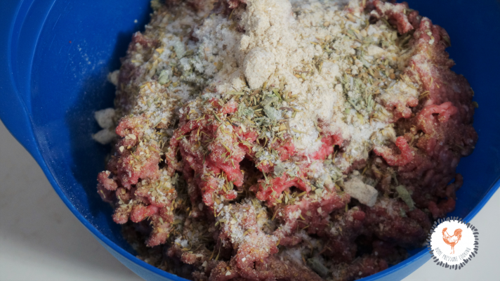 low carb meatzza crust ready to be mixed