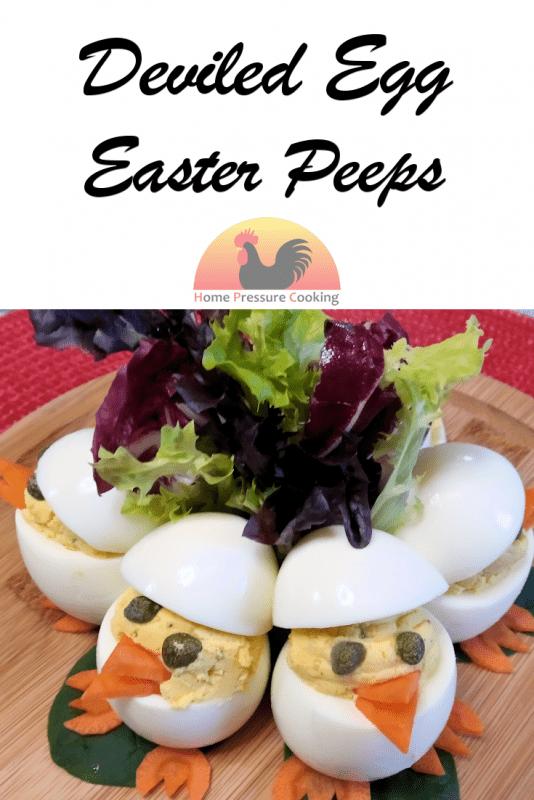 Feature image of Deviled Egg Easter peeps for Pinterest
