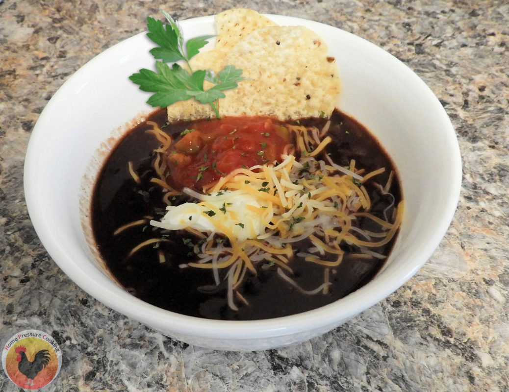 black bean soup with all the fixings